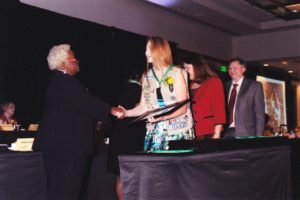 Receiving my Gold Award from Deborah Hearn Smith, CEO Girl Scouts of Central Indiana. (